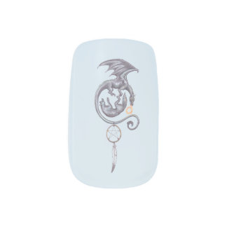 Dragon Wolf Nail Art on Blue