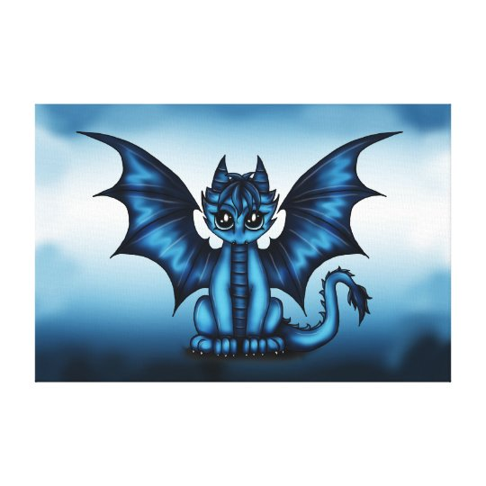 Dragonbaby blue canvas print