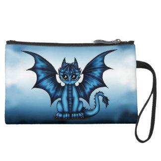 Dragonbaby blue suede wristlet