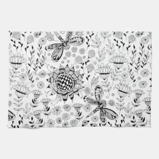 Dragonflies and flowers kitchen towel