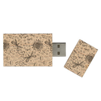 Dragonflies and flowers wood USB flash drive