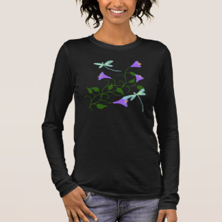 Dragonflies and Morning Glories Abstract Art Long Sleeve T-Shirt