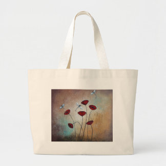 Dragonflies and Poppies Large Tote Bag