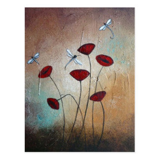 Dragonflies and Poppies Postcard