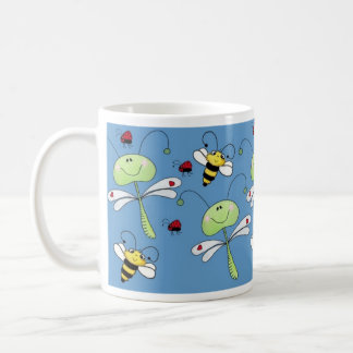 Dragonflies, Bees and Ladybugs Collage Coffee Mug