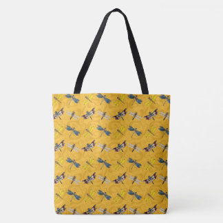 Dragonflies Gold Tote Bag