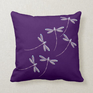 Dragonflies in flight throw pillow
