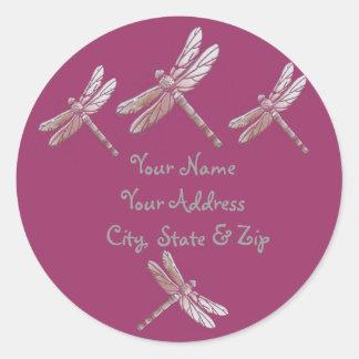 Dragonflies on Burgandy Round Sticker