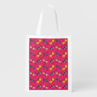 Dragonflies on Hot Pink Background Market Tote