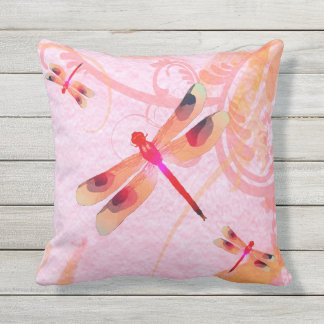 Dragonflies On Pink Outdoor Pillow