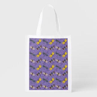 Dragonflies on Purple Reusable Grocery Bag
