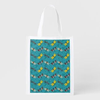 Dragonflies on Teal Background Market Totes