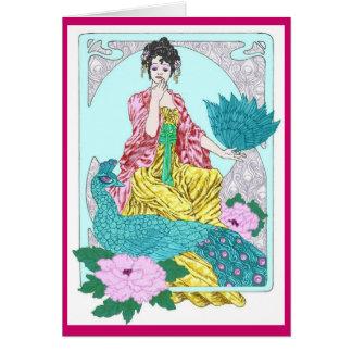 Dragonflies, Peacock and Kimono Card