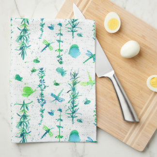 Dragonflies Rosemary Thyme Herbs Kitchen Towel