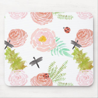 Dragonflies Roses Watercolor Garden Mouse Pad