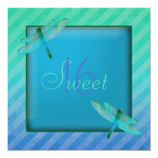 Dragonflies & Stripes Sweet Sixteen Invitation