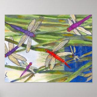 Dragonflies Summer Poster by Roseann Meserve