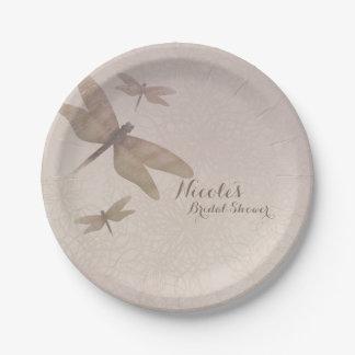 Dragonflies Vintage Dragonfly Chic Elegant Custom Paper Plate