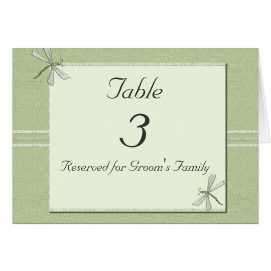 Dragonflies Wedding Table Number Card