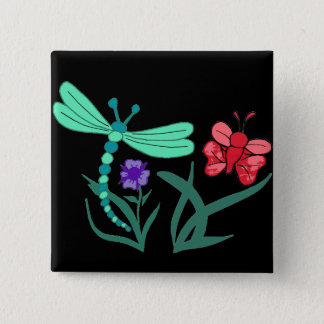 Dragonfly and Butterfly 2 Inch Square Button