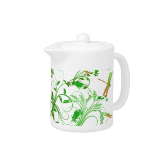 Dragonfly and Floral Teapot