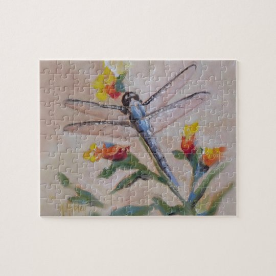 Dragonfly and flower jigsaw puzzle