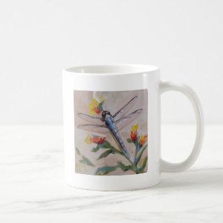 Dragonfly and flower coffee mug