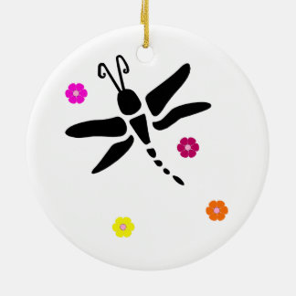 dragonfly and flowers ceramic ornament