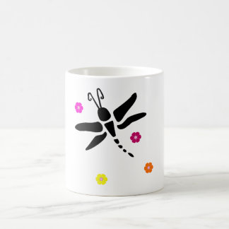 dragonfly and flowers coffee mug