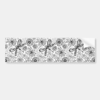 Dragonfly and flowers doodle bumper sticker