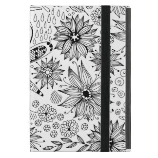 Dragonfly and flowers doodle case for iPad mini