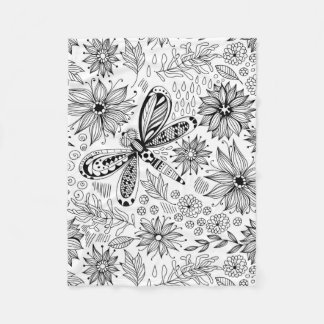 Dragonfly and flowers doodle fleece blanket