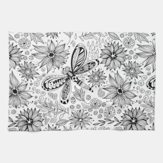 Dragonfly and flowers doodle kitchen towel