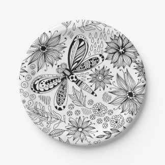 Dragonfly and flowers doodle paper plate