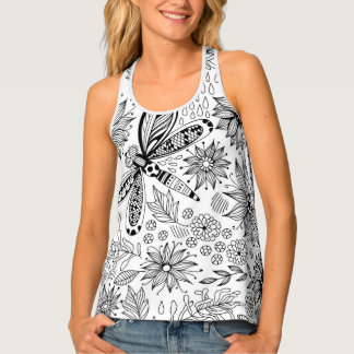 Dragonfly and flowers doodle tank top