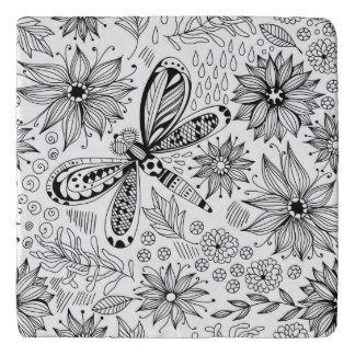 Dragonfly and flowers doodle trivet