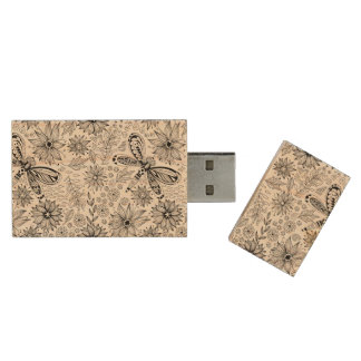 Dragonfly and flowers doodle wood USB flash drive