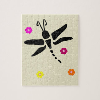 dragonfly and flowers jigsaw puzzle