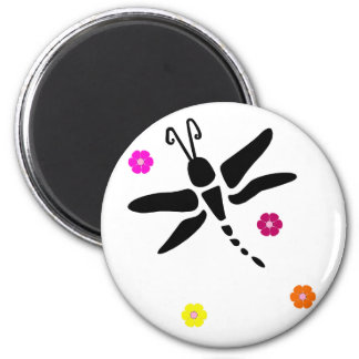 dragonfly and flowers magnet
