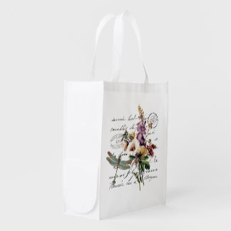 Dragonfly and flowers market tote