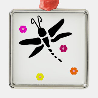 dragonfly and flowers metal ornament