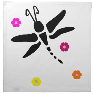 dragonfly and flowers napkin