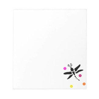 dragonfly and flowers notepad