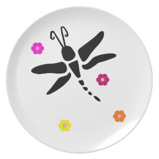dragonfly and flowers plate