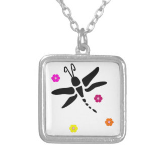 dragonfly and flowers silver plated necklace