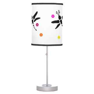 dragonfly and flowers table lamp