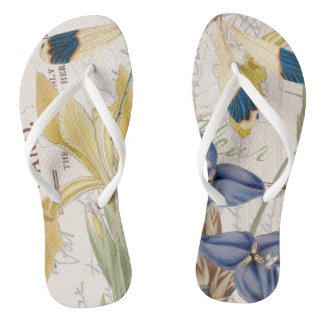 Dragonfly and Irises Flip Flops