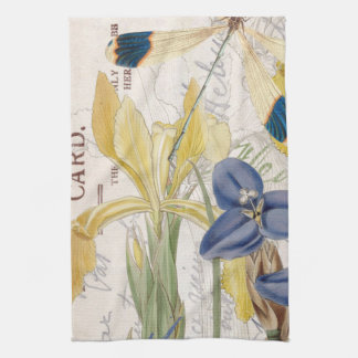 Dragonfly and Irises Kitchen Towel