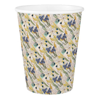 Dragonfly and Irises Paper Cup