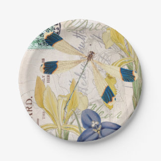 Dragonfly and Irises Paper Plate